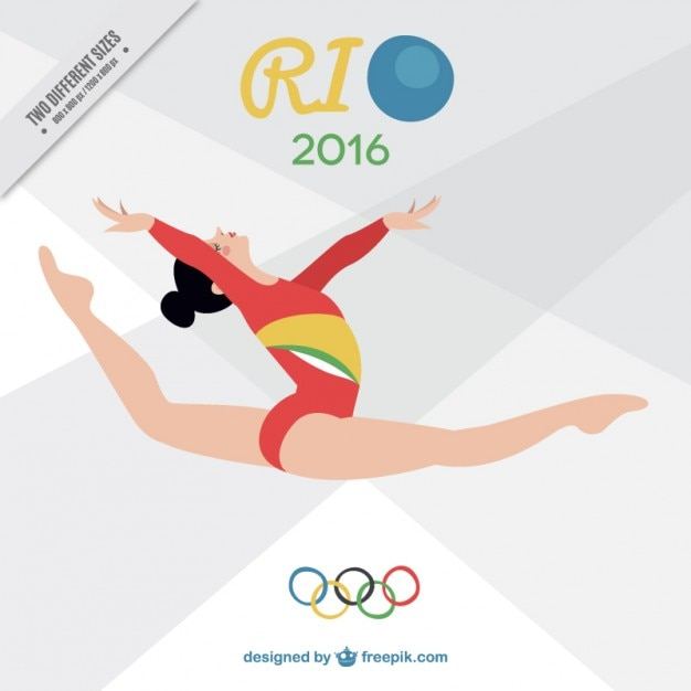 Girl doing rhythmic gimnastics background Free Vector