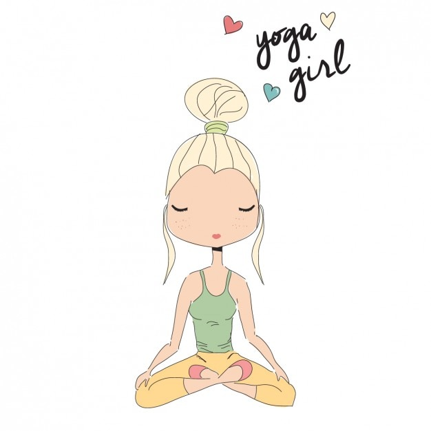 Girl doing yoga background Free Vector