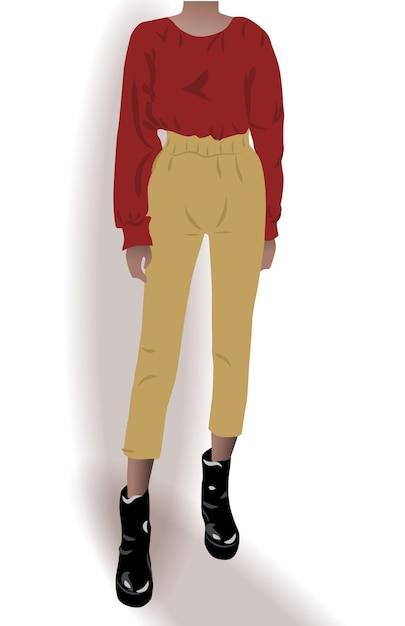 Девушка, одетая в черные туфли, желтые брюки и красную блузку, позирует Бесплатные векторы