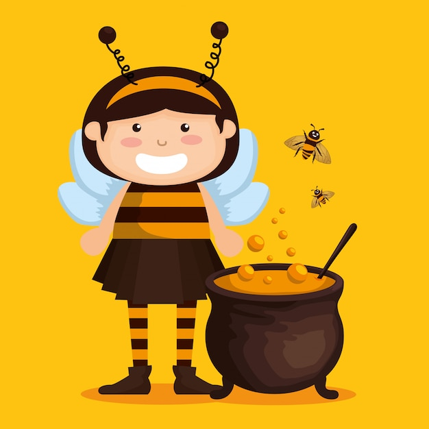 Girl dressed up as a little bee Free Vector