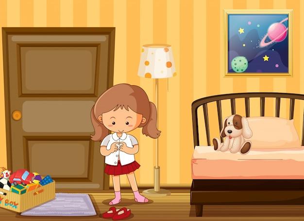 Girl dressing up in school uniform in bedroom Free Vector
