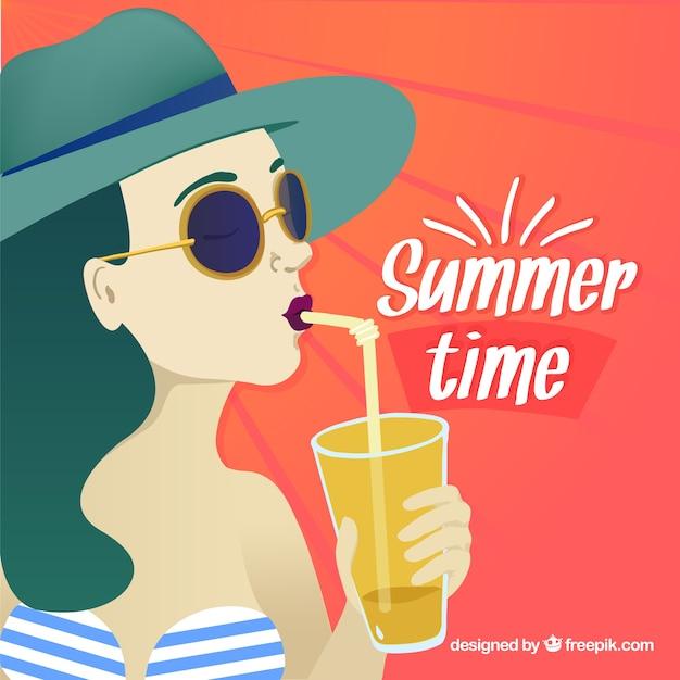 Girl drinking an orange juice background Free Vector