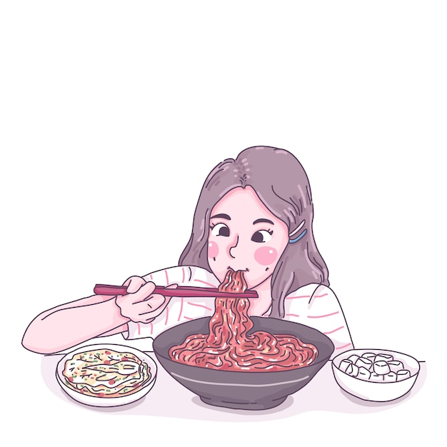 Girl eat noodle cartoon character illustration Premium Vector