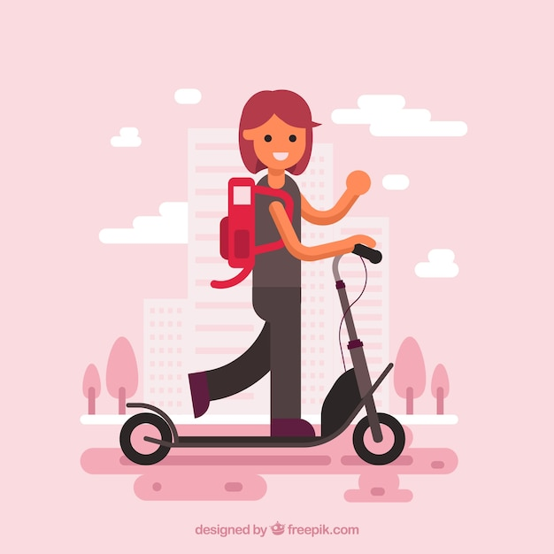 Girl on electric scooter Free Vector