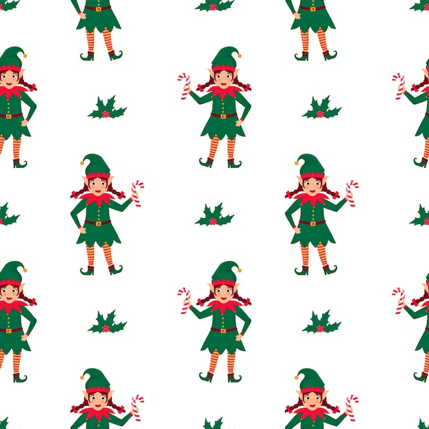 Girl elf with pigtails holds a lollipop in her hand. christmas and new year's seamless pattern. Premium Vector