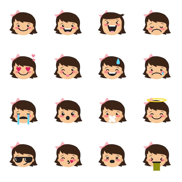 Girl emoticons collection Premium Vector