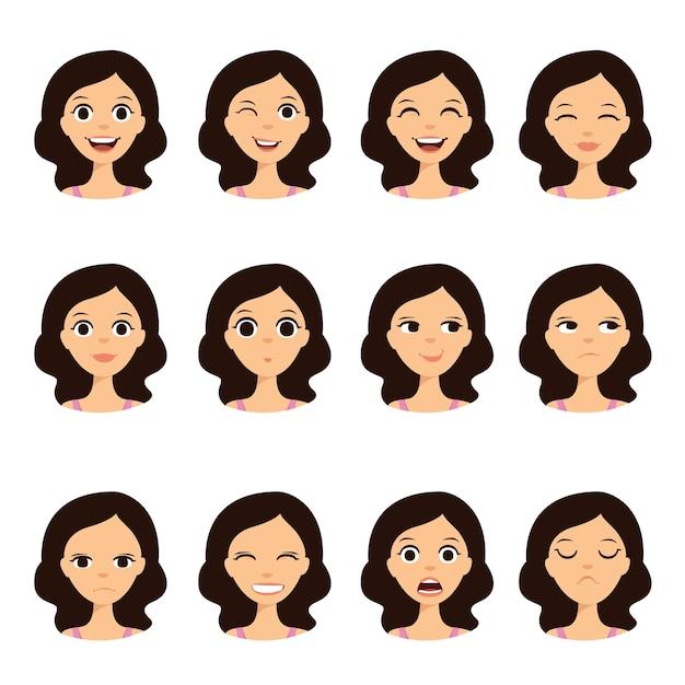 Girl emotion faces cartoon vector illustration Premium Vector