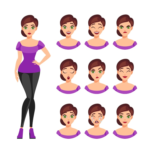 Girl emotions set Free Vector