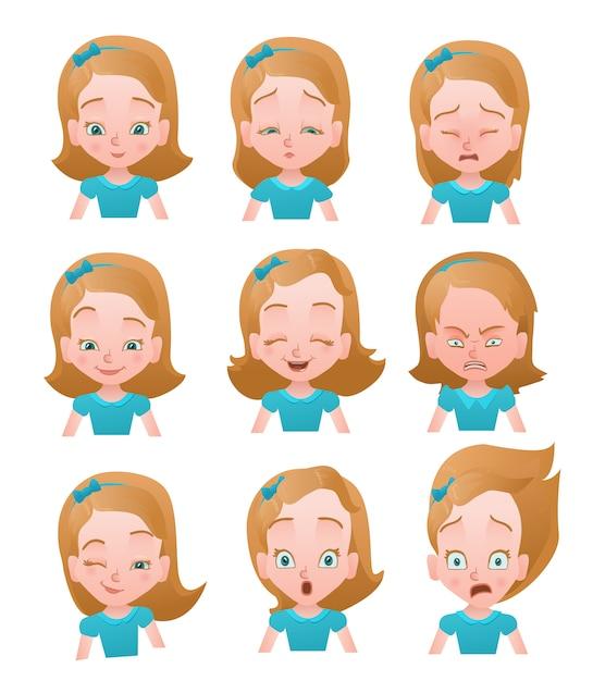 Girl emotions vector set Premium Vector