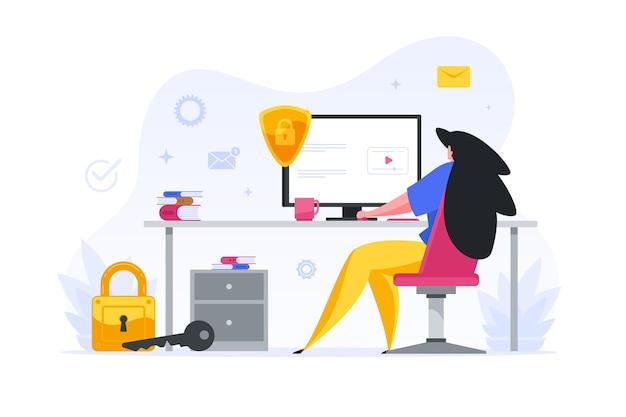 女の子は自分のwebアカウントのイラストを保護するパスワードを入力します。オフィスの女性キャラクターは、仕事のメールと預金をチェックします。信頼性の高いオンライン保護とセキュリティ Premiumベクター