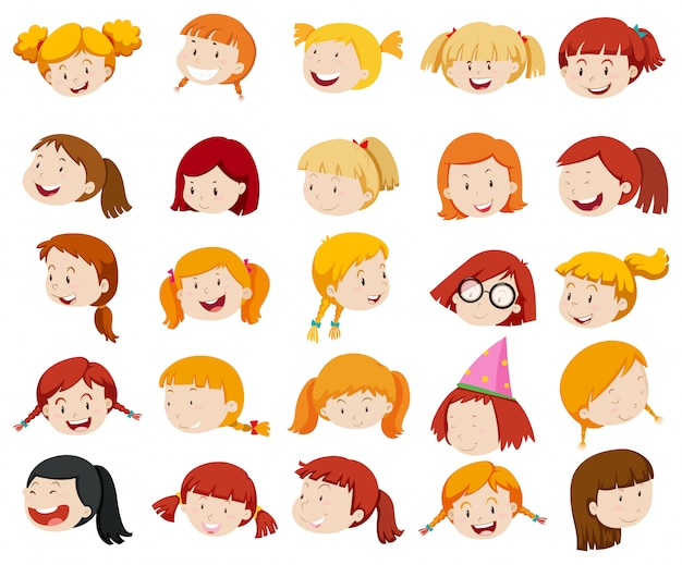 Girl face with big smile Free Vector