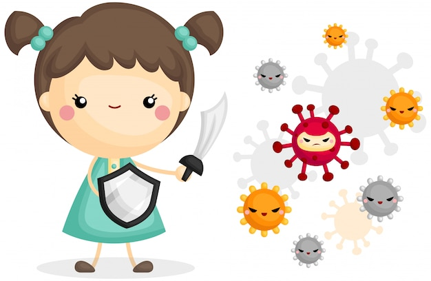 Girl fight with virus Free Vector