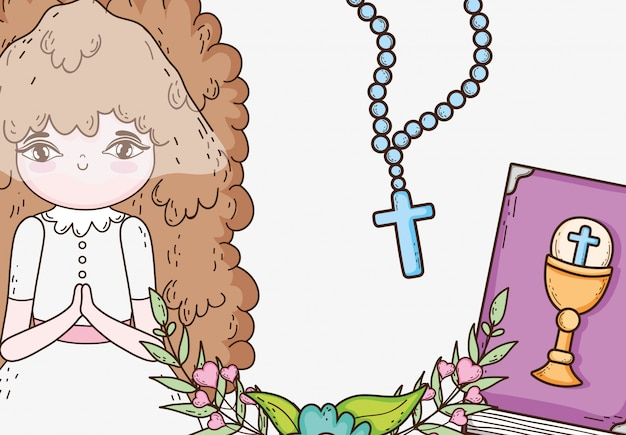 Girl first communion with rosary and bible Premium Vector