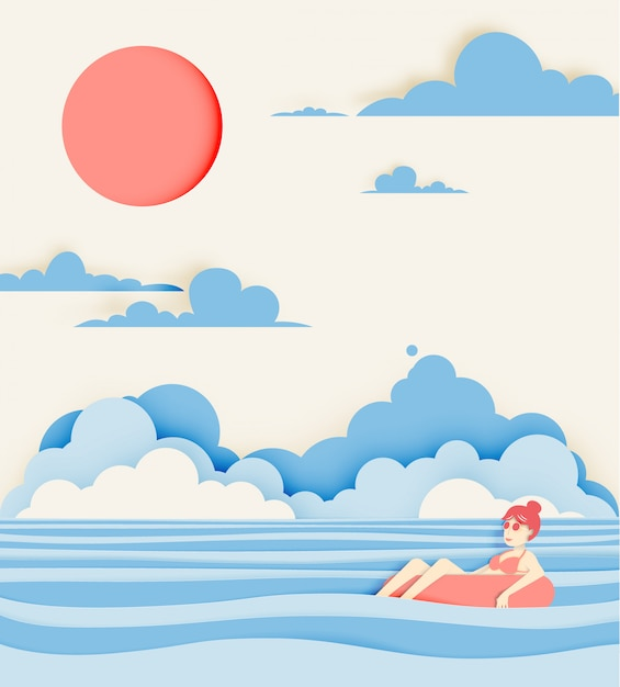 Girl floating on the beach with beautiful sea background paper cut style Premium Vector