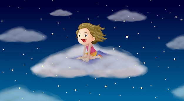 A girl flying on mat Free Vector