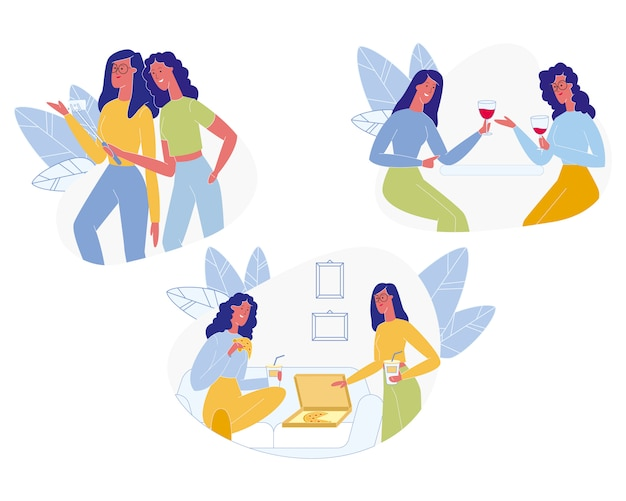 Girl friends meeting. friendship, human relations Premium Vector