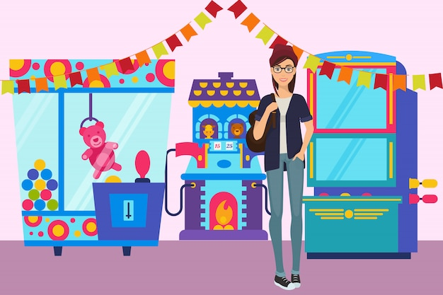Girl in game room banner  illustration. gambling machine with toys for children in the amusement park. Premium Vector