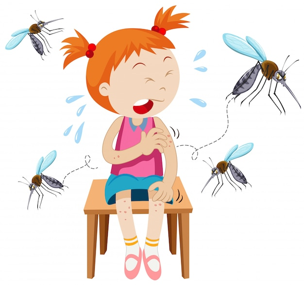 Girl got bitten by mosquitoes Free Vector