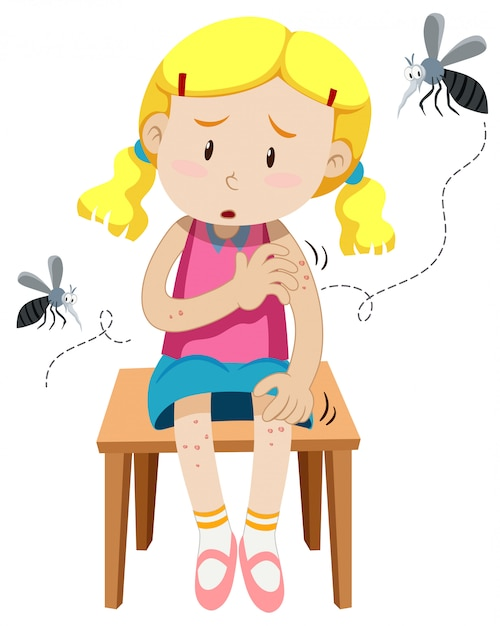 Girl got bitten by mosquitos Free Vector