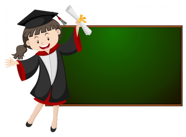 Girl in graduation gown by the blackboard Free Vector