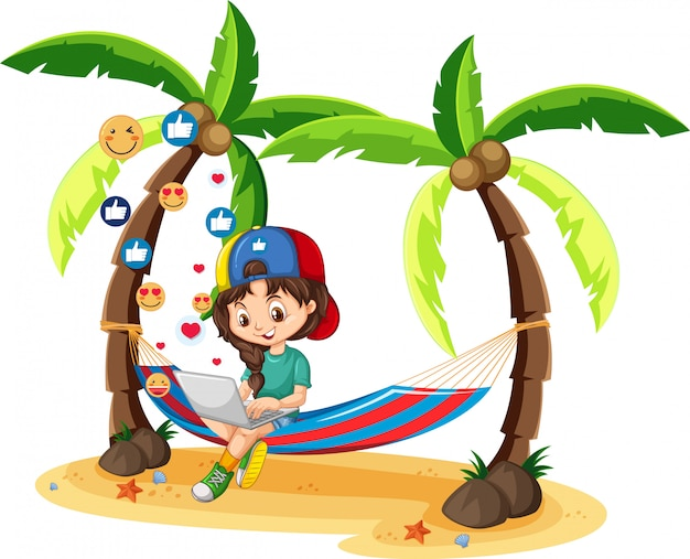 Girl in green shirt searching on laptop with coconut tree cartoon character  on white background Free Vector