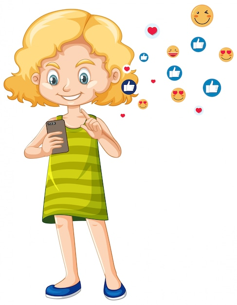 Girl in green shirt using smart phone cartoon character isolated on white background Free Vector