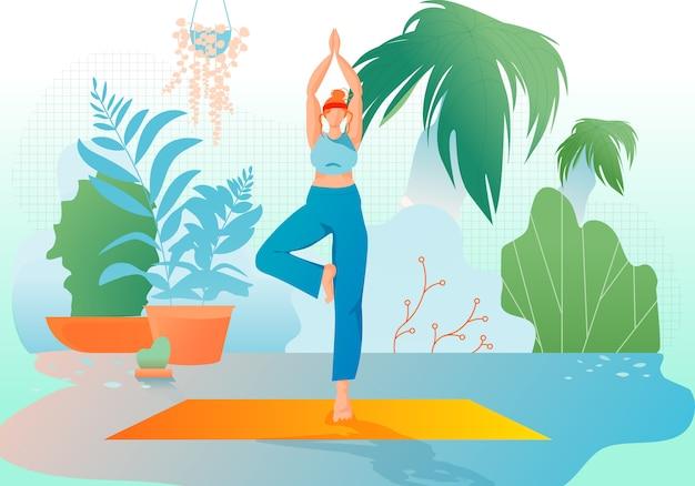 Girl at greenhouse or garden stand in yoga asana. Premium Vector