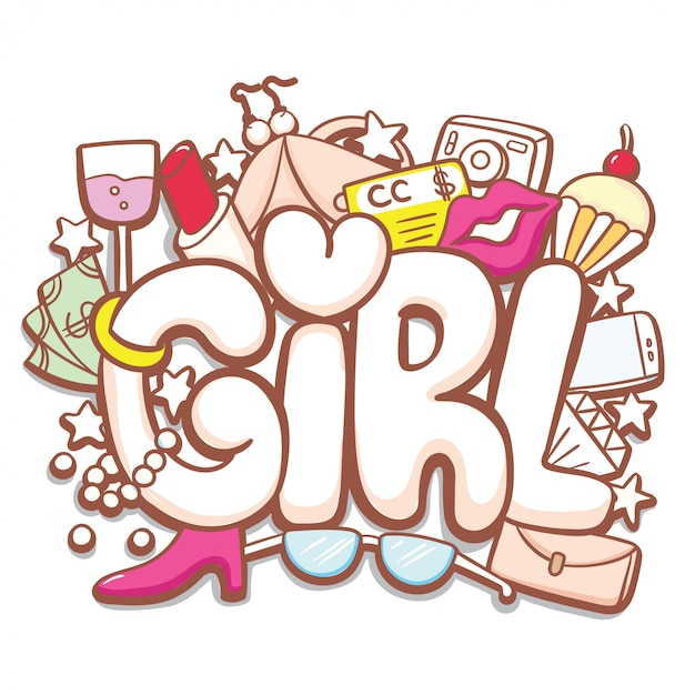 Girl hand drawn typography with cute doodle Premium Vector