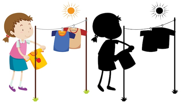 Girl hanging wet shirt to dry with its silhouette Free Vector