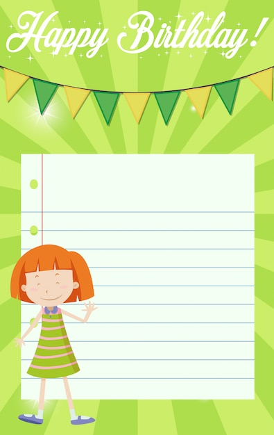 Girl on happy birthday note background Free Vector