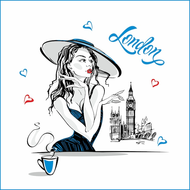 The girl in the hat drinking coffee Premium Vector