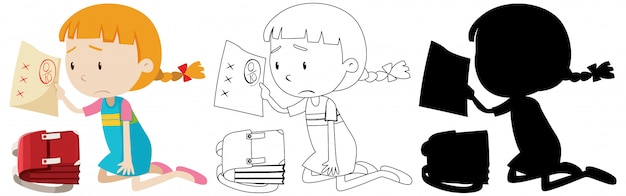 Girl have bad exam mark with its outline and silhouette Free Vector