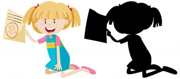 Girl have a good exam mark with its silhouette Free Vector