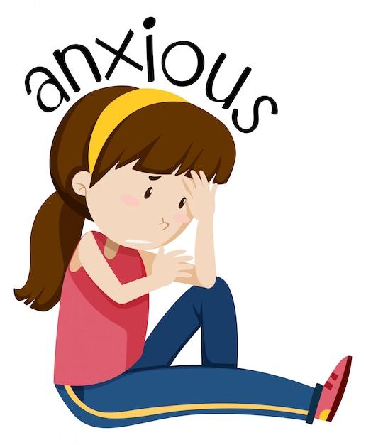A girl having anxious Free Vector