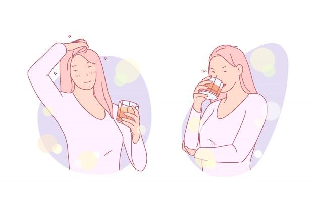 Girl having a drink illustration Premium Vector