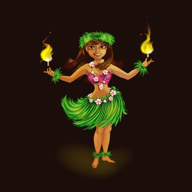 A girl in hawaiian clothes dancing hula with torches. Premium Vector