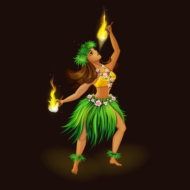 Girl in hawaiian folk clothes with torches for fiery dance. Premium Vector