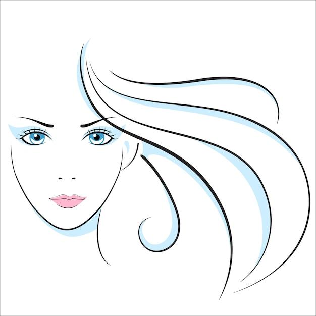 Girl head illustration. eye, ear, hair, lips, neck Premium Vector