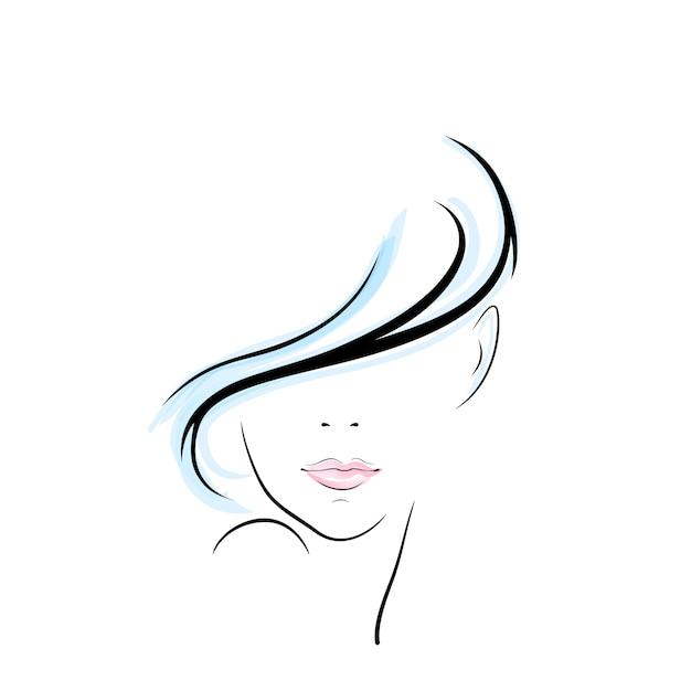 여자 머리 그림 프리미엄 벡터