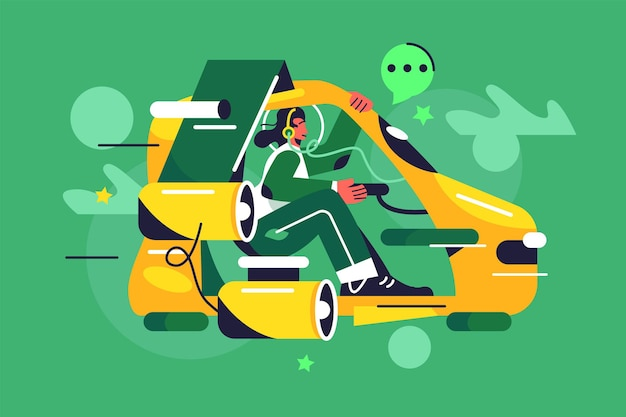 Girl in headphones flies on a flying car of the future, turbines, levitation Premium Vector