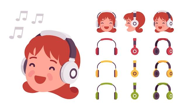 Girl in headphones Premium Vector