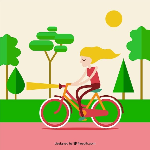 Girl on her bike in a park background Free Vector