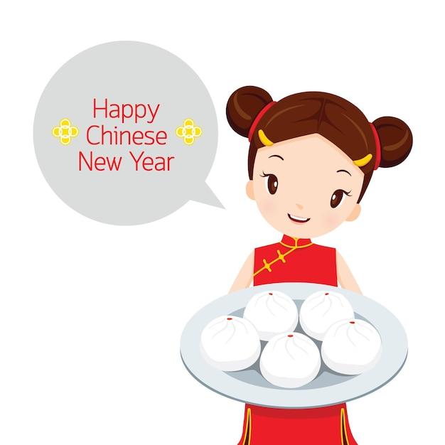 デザートの皿を持っている女の子、伝統的なお祝い、中国、旧正月 Premiumベクター