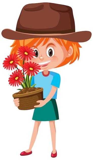 Девушка держит цветок в горшке мультипликационный персонаж изолированы Premium векторы