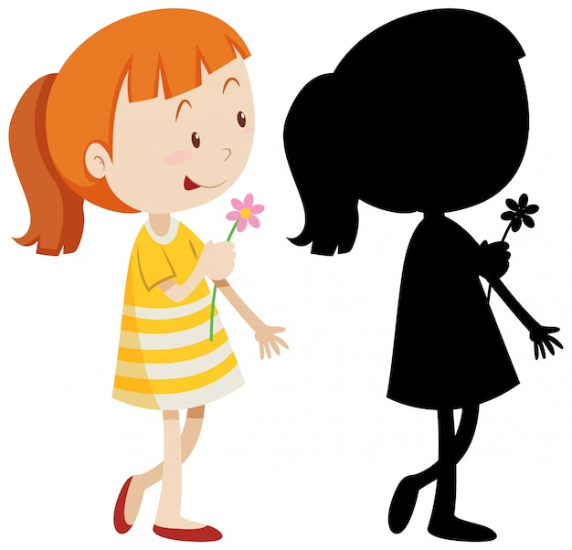 Girl holding flower with its silhouette Free Vector