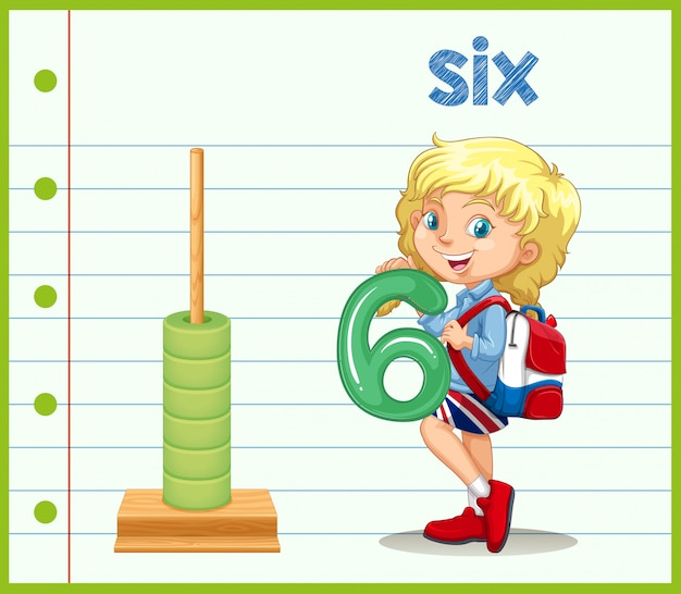A girl holding number six Premium Vector