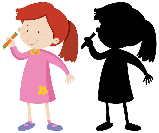 Girl holding pencil and its silhouette Free Vector