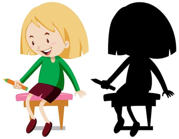Девушка держит карандаш, сидя на стуле в цвете и силуэте Premium векторы
