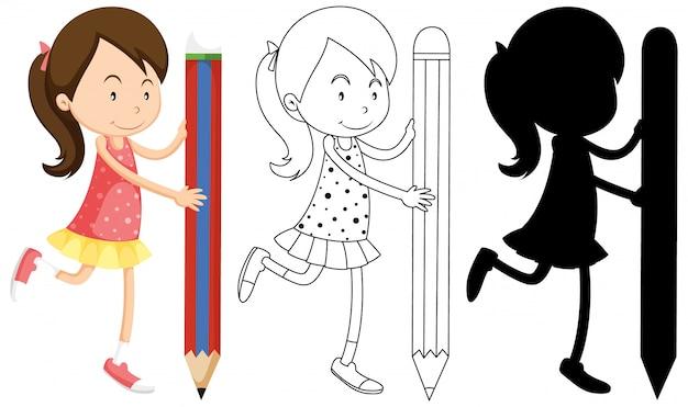 Девушка держит карандаш со своим контуром и силуэтом Premium векторы