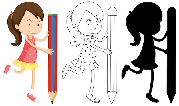Girl holding pencil with its outline and silhouette Premium Vector